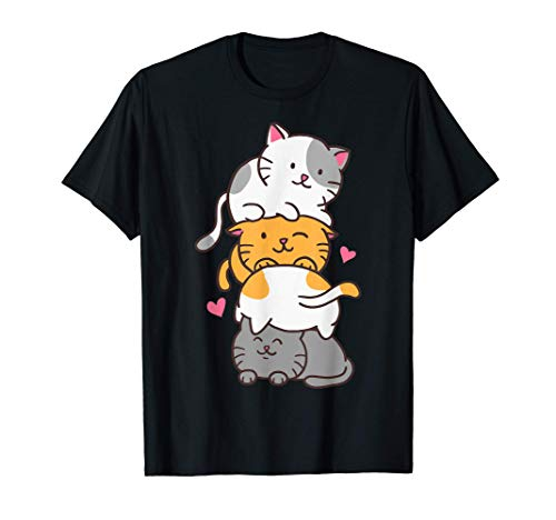 Cat Cats Cute Kitty Pile Anime Kawaii Neko Gift T-Shirt