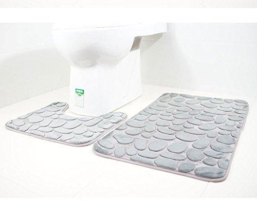 Paramount City Tapis de Toilette et Tapis de Bain - 2 pièces - Microfibre - Polyester - Dos en Caoutchouc antidérapant - Séchage Rapide (Gris)