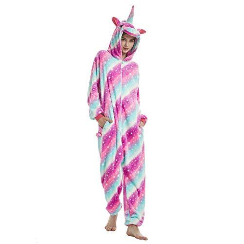 ALBRIGHT Kinder Overall Cosplay Pajamas Kostüm sternenklarer Himmel Einhorn, Tier Onesie Nachthemd Schlafanzug Kapuzenpullover Nachtwäsche für Weihnachten Halloween Karnival Party Jumpsuit 130-140cm