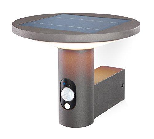 Moderne Solar Wandleuchte Imperia mit Bewegungsmelder Lichtfarbe warmweiß 3000K, 2,8 Watt Solarmodul, 210 lm Lichtstrom, Sommer- und Wintermodus, hochwertige Aluminiumausführung, Wandlampe 102900