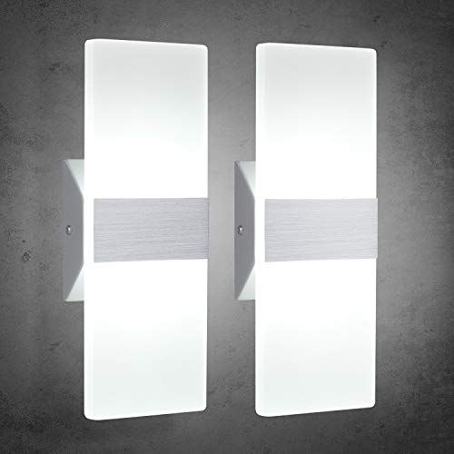 TRLIFE Modern Wall Sconces, Set of 2 LED Wall Sconces 12W 6000K Cool White Wall Sconce Lighting for Hallway Bedroom Bathroom Porch Living Room Basement Stairway Hotel(12W)