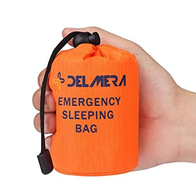 Delmera Emergency Survival Sleeping Bag, Lightweight Waterproof Thermal Emergency Blanket, Bivy Sack with Portable Drawstring Bag for Outdoor Adventure, Camping, Hiking, Orange (Orange- one Pack)