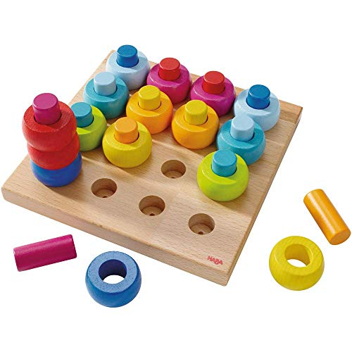Haba 2202 - Steckspiel Farbkringel, buntes Sortier- und Motorikspielzeug aus Holz ab 2 Jahren, zum Farbenlernen