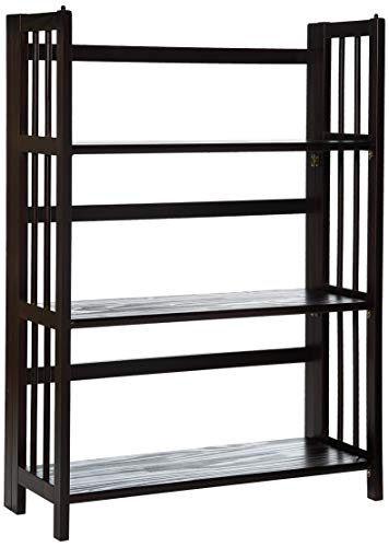 "Casual Home 3-Shelf Folding Stackable Bookcase (27.5"" Wide)-Espresso"