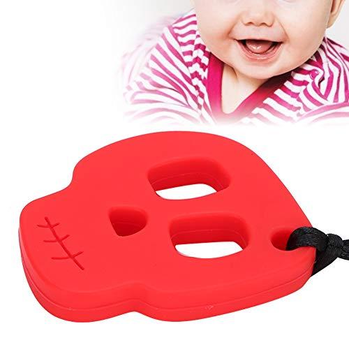 Uxsiya Juguete de dureza Media del Collar de dentición Resistente al Calor eficiente para Masticar(Red Skull teether)