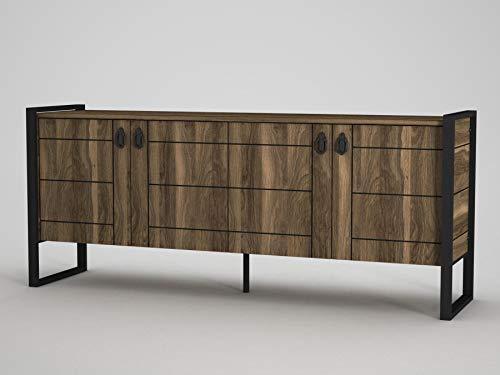 Alphamoebel 4630 Lost Sideboard Moderne Kommode Schrank, mit Metallfüße, 4 Türen, viel Stauraum, 4 Regalablagen, für Wohnzimmer, Holz, Walnuss, 185 x 78 x 40 cm