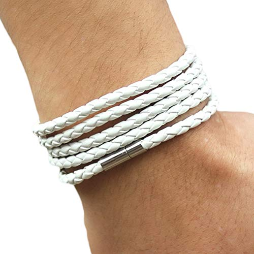 CUSROS Unisex Multilayer Interlaced Faux Leather Cuff Bangle Wristband Bracelet Women Girls Jewelry Gift White One Size