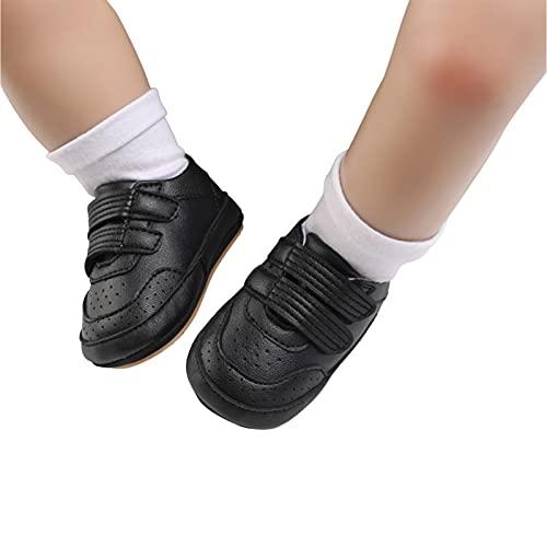 Dazzerake Zapatos de Bebé Unisex Zapatos con Suela Suave Color sólido Zapatos de Bebé para Primeros Pasos Primera Infancia para Primavera Otoño Moda (Negro, 12-18 Meses)