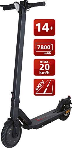 Telestar TROTTY 7808 SZ - Patinete eléctrico con Permiso de circulación (StVZO, 20 km/h, máx. 25 km, batería de Iones de Litio, neumáticos de Aire, hasta 120 kg), Color Negro