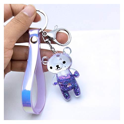 JSJJARF Llavero Llavero Glitter Bear Llavero Acrílico Key Fob Mochila Colgante Parejas Mujeres Hombres Boyfriend Friend Llavero Regalo (Color : Purple Bear)