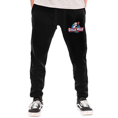 Hxuedan Chilly Willy Penguin Men's Casual Jogger Drawstring Waist Long Sweatpants with Pockets Black