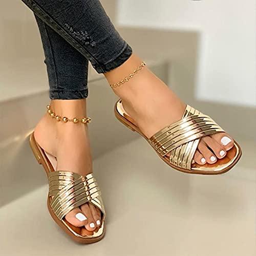 Zapatillas de Mujer, Zapatos de Verano para la Playa,Zapatos de Exterior con Diapositivas Planas Doradas Brillantes para Mujer, Sandalias Informales para Mujer de Talla Grande Doradas