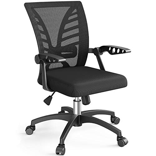 NOBLEWELL Ergonomic Office Chair Mid Back Mesh Computer Desk Chair with Lumbar Support, Flip-up Arms, Adjustable Backrest, Swivel Home Comfort Task Chair, for Teens Women Adults, Black