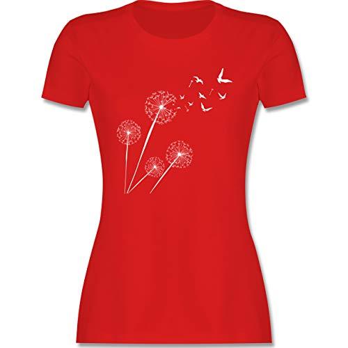 Statement - Pusteblume Vögel - M - Rot - lässig t Shirt - L191 - Tailliertes Tshirt für Damen und Frauen T-Shirt