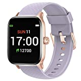 Letsfit Smart Watch Compatible with iPhone and Android Phones, Fitness Tracker with Heart Rate Monitor, Sleep Monitor & Blood Oxygen Saturation, 5ATM Waterproof Smartwatch for Women Men-Purple