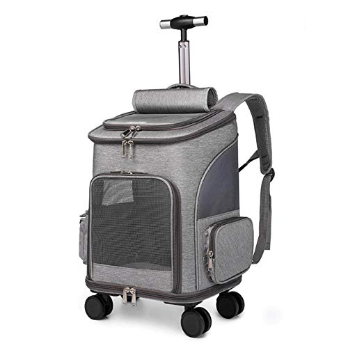 Miwaimai Trolley backpack pet cat bag outdoor travel convenient foldable pet trolley bag,light grey