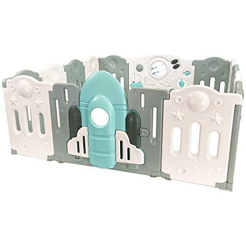 The Tiny Tales Rocketeer Baby Playground en interiores y exteriores. Este parque infantil tiene 14 paneles, incluido el panel de juego de actividades.