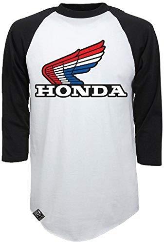Factory Effex (17-87334) 'HONDA' Vintage Raglan Baseball Shirt (White/Black, Large)