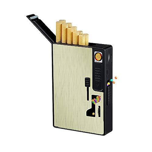 Caja de Cigarrillos con Encendedor eléctrico USB Recargable, dispensador de Bolas de...