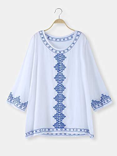 weichuang Vestido bohemio bordado con cuello redondo de manga larga para bikini, color blanco, talla: talla única)