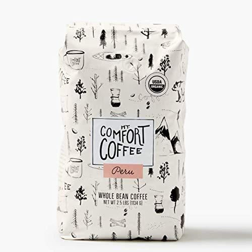 Mt. Comfort Coffee Organic Peru Medium Roast, 2.5 Lb Bag - Flavor Notes of Nutty, Chocolate, & Citrus - 100% Premium High-Quality Roasted Whole Beans