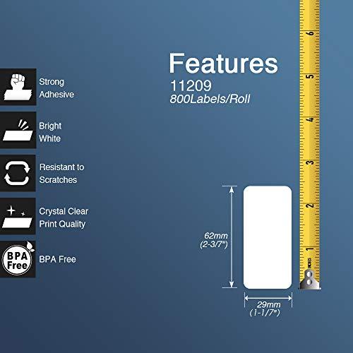BETCKEY Compatible Etiqueta de Código de Barras Reemplazo para hermano DK-11209, 62mm x 29mm, para Impresoras de Etiquetas Brother QL, [10 Rollos/8000 Labels]
