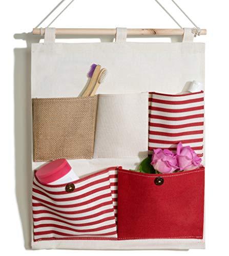 bellendo Organizador colgante para habitación de los niños, baño, puerta, organizador de pared para bebé, de tela, 5 compartimentos, color rojo
