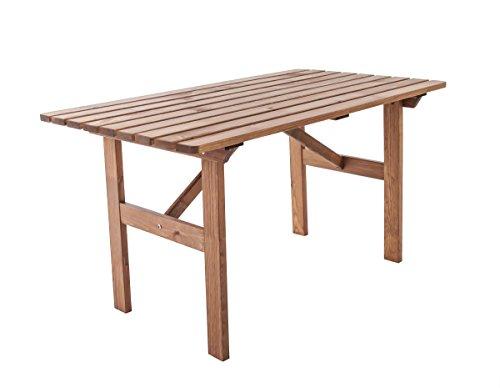 Ambientehome 90063 - Mesa de Comedor para Exterior (Madera), Color marrón