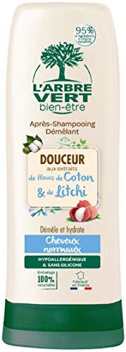 L'arbre vert - Après-Shampooing Démêlant - Douceur aux extraits de Fleurs de Coton & de Litchi - Pour Toute la Famille - 200 ml - Lot de 3