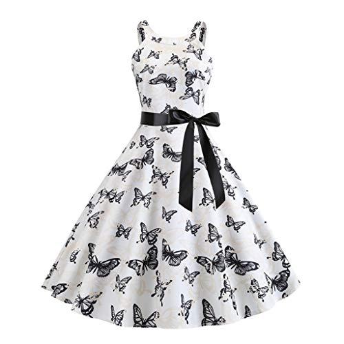 MAYOGO Damen 50s Retro Ärmellose Schwingen Vintage Rockabilly Kleid Faltenrock Sommerkleider A-line Knielang Kleider