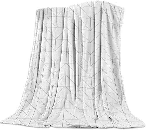 Yaxinduobao Manta de Cama de Forro Polar de Franela Manta de Forro Polar de Felpa cálida y difusa Blanca y Gris Manta Ligera geométrica Simple súper Suave para Cama sofá sofá 39 x 50 Pulgadas