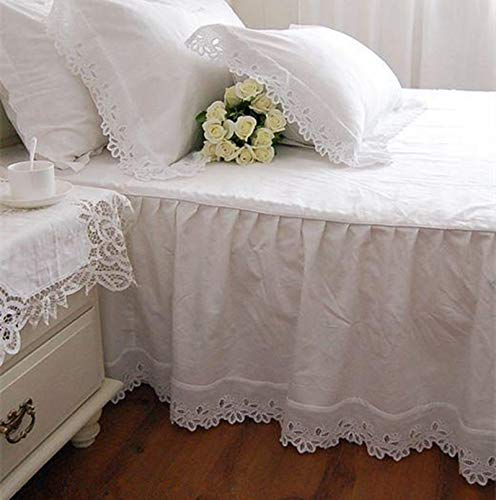 Super Soft Bed Skirt European Flower Embroidery Satin Cotton Bedspread,160x200cm bed
