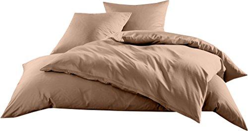 Mako-Satin Baumwollsatin Bettwäsche Uni einfarbig zum Kombinieren (Bettbezug 135 cm x 200 cm, Hellbraun)