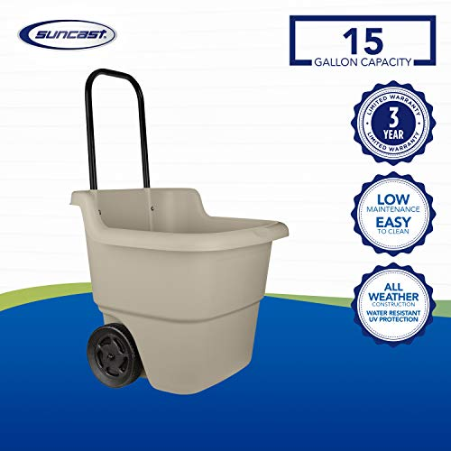 Suncast 2-Wheel Resin Multi-Purpose Cart with Handle - 15.5 Gallon Cart for Garden, Grocery Store and Home - Brown