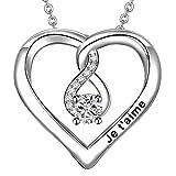 LOVORDS Collier Femme Gravé Je t'aime en Argent 925/1000 Pendentif Cœur et Infini...