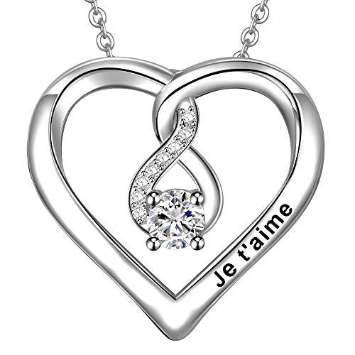 LOVORDS Collier Femme Gravé Je t'aime en Argent 925/1000 Pendentif Cœur et Infini Cadeau Amoureux pour Elle Mère Maman Mamie Fille