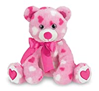 Bearington Sweetheart Pink Valentines Plush Stuffed Animal Teddy Bear with Hearts, 8.5 inches by Bearington Collection