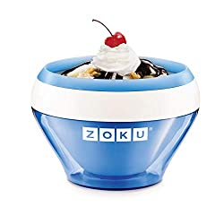Image: Zoku Ice Cream Maker, Compact Make and Serve Bowl with Stainless Steel Freezer Core Creates Soft Serve, Frozen Yogurt, Ice Cream and More in Minutes, BPA-free, 6 Colors, Blue
