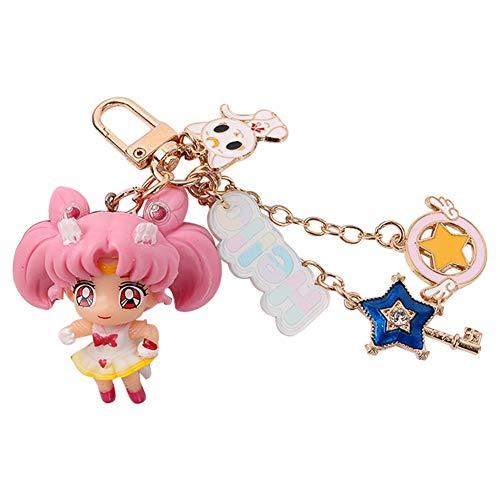 Llavero de PVC Sailor Moon con diseo de personajes de anime, llavero de metal japons estilo 1