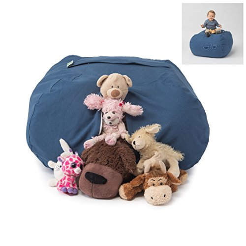 """T-Bugs Best Stuffed Animal Storage Bean Bag Chair, Premium Cotton Canvas Toy Organizer for Kids Bedroom, Perfect Storage Solution for Plush Toys, Blankets, Towels & Clothes (27"""", Solid Blue)"""