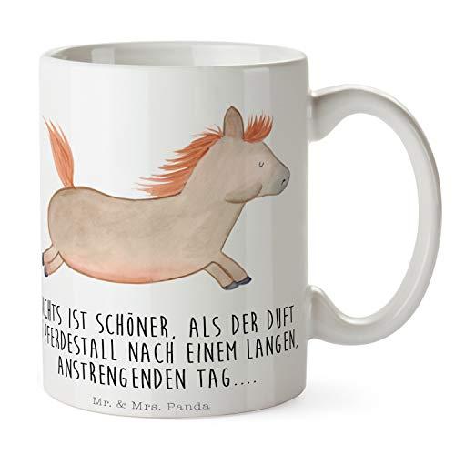Mr. & Mrs. Panda Büro, Frühstück, Tasse Pferd springt mit Spruch - Farbe Weiß