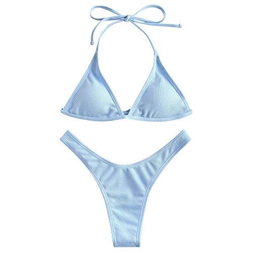 ZAFUL Women's Bathing Suits Halter Ribbed Polka Dot String Bikini Set Beach Swimwear Light Blue