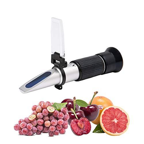 Beslands Refraktometer Brix 0-40% Alkohol 0-25% Zuckergehalt Wein zur Messung des Zuckeranteils mit ATC Handrefraktometer für Winzer Wein Bier Obst Frucht