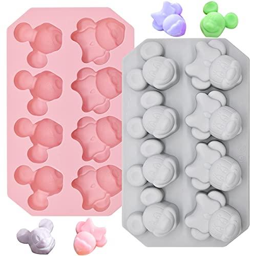 Silikon Süßigkeiten Formen 2PCS Silikon Backform Kuchenform Mickey Minnie Silikonformen für Kuchen Backen, Schokolade, Biscuit, Eiswürfel, DIY Handgemachte Seife (Pink, Grau-Blau)