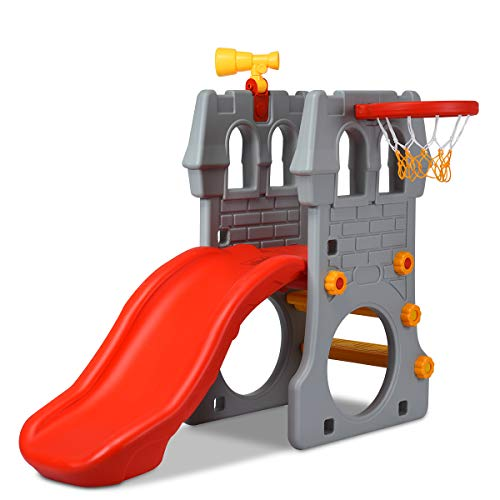 COSTWAY 4 in 1 Kinder Spielplatz mit Teleskopspielzeug, Kletterleiter & Rutsche & Basketballkorb & Fußballtor, Schloss Rutsche, Spielrutsche, Kinderrutsche für 3-8 Jahre