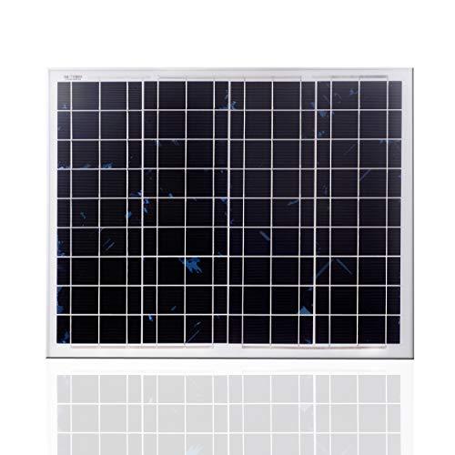 SARONIC 50W 12V Polykristallines Solarmodul-Photovoltaik-PV-Modul für Wohnwagen, Wohnmobil, Boot oder Yacht