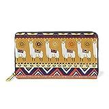 WowPrint Tribal Llama Alpaca Cartera de piel de gran capacidad bolsa de embrague para almacenamiento de teléfono para viajes de compras
