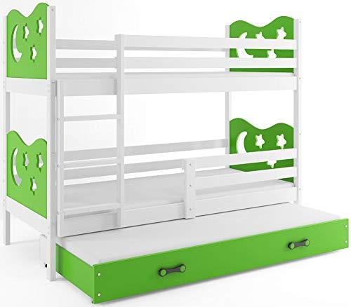 Interbeds Etagenbett Miko 3 (für DREI Kinder) 190x90cm Farbe: weiβ + 2. Farbe zur Wahl; mit Lattenroste und Matratzen (grün)