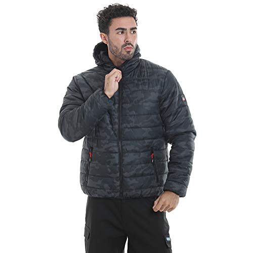Lee Cooper LCJKT452 Workwear Camo Stampa Slim Fit leggero idrorepellente antivento termica imbottita giacca da lavoro, Nero Camo, Grande, l
