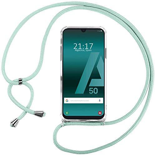 Ingen Funda con Cuerda para Samsung Galaxy A50S / A50 / A30S - Carcasa Transparente TPU Suave Silicona Case con Colgante - Verde